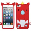 Insten® Silicone Skin Soft Phone Cover For iPod Touch 5th Gen, Red Piggie