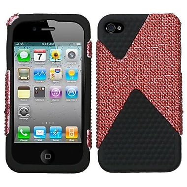 Insten® Diamante/Diamond Veins Dual Protector Cover F/iPhone 4/4S, Black/Red