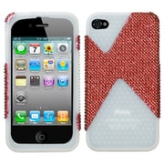 Insten® Diamante/Diamond Veins Dual Protector Cover F/iPhone 4/4S, Red/T-Clear