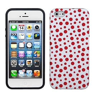 Insten® Argyle Candy Skin Cover F/iPhone 5/5S, Red Mixed Polka Dots