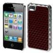 Insten® Alloy Executive Back Protector Cover For iPhone 4/4S, Red Silver Plating Diamond Texture