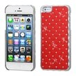 Insten® Luxurious Lattice Alloy Elite Dazzling Protector Cover F/iPhone 5/5S, Red Silver Plating