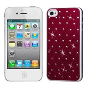 Insten® Studded Back Plate Cover W/White Sides F/iPhone 4/4S, Red