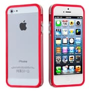 Insten® MyBumper Phone Protector Cover F/iPhone 5/5S, Red/Transparent Clear