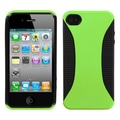 Insten® Mixy Rubberized Phone Protector Cover For iPhone 4/4S, Green/Black
