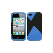 Insten® Rubberized Phone Protector Cover For iPhone 4/4S, Black/Dark Blue Diamond Veins Dual