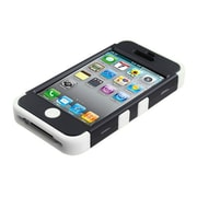 Insten® TUFF Hybrid Rubberized Phone Protector Cover F/iPhone 4/4S, Black/Solid White
