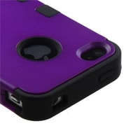 Insten® TUFF Hybrid Rubberized Phone Protector Cover F/iPhone 4/4S, Grape/Black