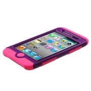 Insten® Rubberized TUFF Hybrid Phone Protector Cover For iPod Touch 4th Gen, Grape/Electric Pink