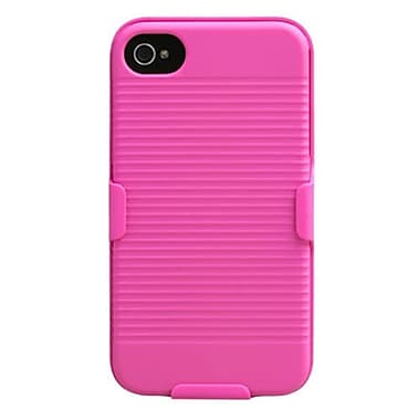 Insten® Hybrid Rubberized Holster F/iPhone 4/4S, Hot-Pink