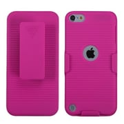 Insten® Rubberized Hybrid Holster For iPod Touch 5th Gen, Hot-Pink