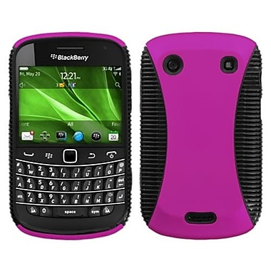 Insten® Rubberized Phone Protector Cover For BlackBerry 9900/9930, Hot-Pink/Black Mixy