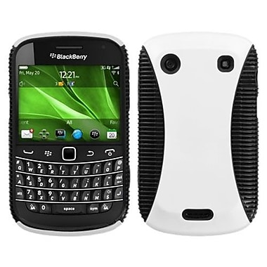 Insten® Rubberized Phone Faceplate Case For BlackBerry 9900/9930, White/Black Mixy