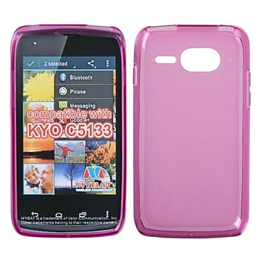 Insten® Rubberized Candy Skin Cover For Kyocera C5133, Semi Transparent Hot-Pink