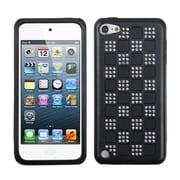 Insten® Diamante Duple Protector Cover For iPod Touch 5th Gen, Silver Checker/Black/Black