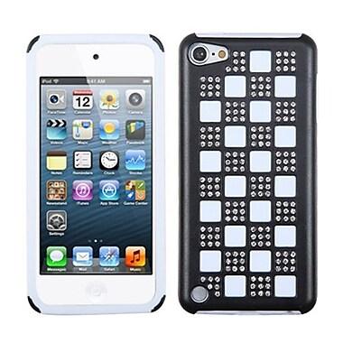 Insten® Diamante Duple Protector Cover For iPod Touch 5th Gen, Silver Checker/Black/White