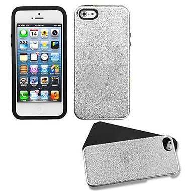 Insten® Fusion Protector Cover F/iPhone 5/5S, Silver Plating Matte Wrinkle/Black