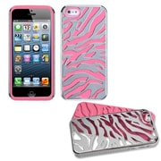 Insten® Fusion Protector Cover F/iPhone 5/5S, Silver Plating Zebra Skin/Electric Pink