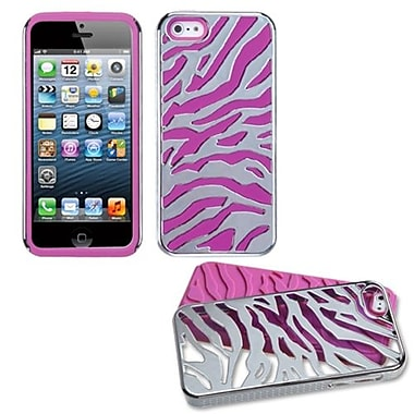 Insten® Fusion Protector Cover F/iPhone 5/5S, Silver Plating Zebra Skin/Hot-Pink