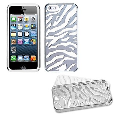 Insten® Fusion Protector Cover F/iPhone 5/5S, Silver Plating Zebra Skin/Solid White