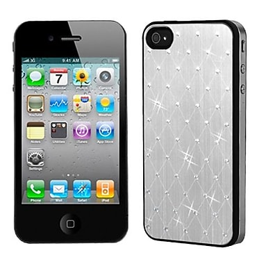 Insten® Studded Back Plate Cover W/Black Sides F/iPhone 4/4S, Silver