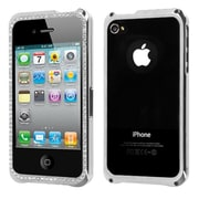Insten® Chrome Coating Metal Surround Shield Protector Cover W/Diamonds For iPhone 4/4S, Silver
