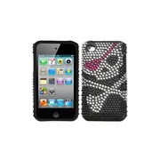 Insten® Fusion Faceplate Case For iPod Touch 4th Gen, Skull Diamante