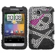 Insten® Protective Case F/HTC ADR6225 ADR-6225 WildFire, Black/White/Hot-Pink Diamond Crystals Bling