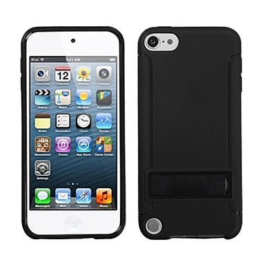 Insten® Gummy Cover With Stand For iPod Touch 5th Gen, Solid Black/Solid Black