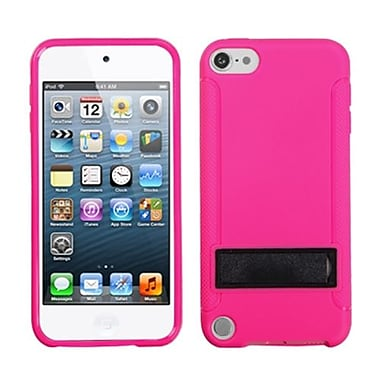 Insten® Gummy Cover With Stand For iPod Touch 5th Gen, Solid Black/Solid Hot-Pink