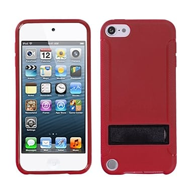 Insten® Gummy Cover With Stand For iPod Touch 5th Gen, Solid Black/Solid Red
