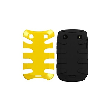 Insten® Fishbone Phone Faceplate Case For BlackBerry 9900, Solid Pearl Yellow/Black