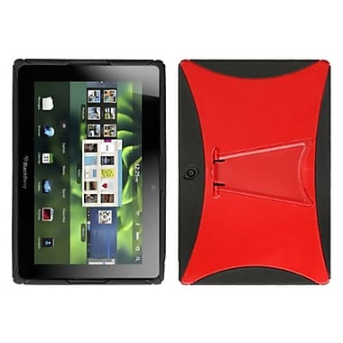 Insten® Gummy Cover With Stand For RIM BlackBerry Playbook, Solid Red/Solid Black