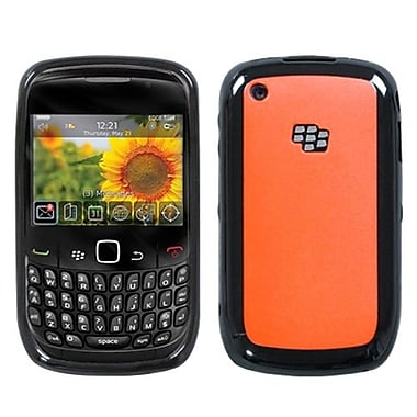 Insten® Gummy Cover For BlackBerry 8520/8530, Solid Red/Solid Black