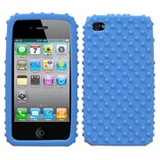 Insten® Solid Skin Cover F/iPhone 4/4S, Dark Blue Dots