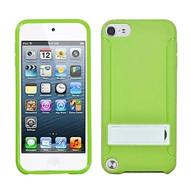 Insten® Gummy Cover With Stand For iPod Touch 5th Gen, Solid White/Solid Green