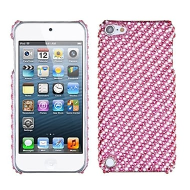 Insten® Stripe Diamante Phone Back Protector Cover For iPod Touch 5th Gen, White/Pink