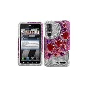Insten® Diamante Faceplate Case For Motorola XT862 Droid 3, Stylish Hearts