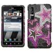 Insten® Diamante Protector Cover For Motorola XT862 Droid 3, Super Star