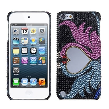 Insten® Diamante Back Protector Cover For iPod Touch 5th Gen, Swan Love Heart Mirror Premium