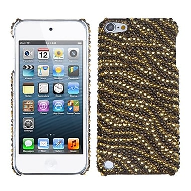 Insten® Diamante Phone Back Protector Cover For iPod Touch 5th Gen, Tiger Skin (Camel/Brown)