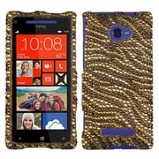 Insten® Diamante Protector Case For HTC Windows Phone 8X, Brown Tiger/Camel