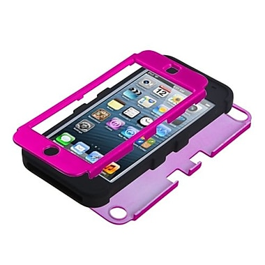 Insten® TUFF Hybrid Protector Cover F/iPod Touch 5th Gen, Titanium Solid Hot-Pink/Black