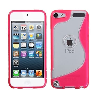 Insten® Transparent S-Shape Gummy Cover For iPod Touch 5th Gen, Clear/Hot-Pink
