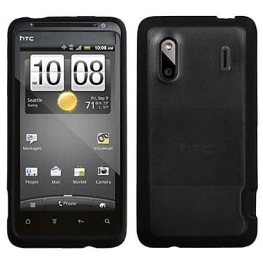 Insten® Gummy Cover For HTC Hero 4G/Kingdom/ADR6285/EVO Design 4G, Transparent Clear/Solid Black