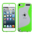 Insten® Gummy Cover For iPod Touch 5th Gen, Transparent Clear/Solid Green S-Shape