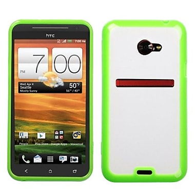 Insten® Gummy Cover For HTC EVO 4G LTE, Transparent Clear/Solid Green