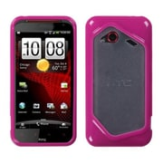 Insten® Gummy Gel Cover Case For HTC Droid Incredible 4G LTE ADR6410L, Clear/Solid Hot-Pink