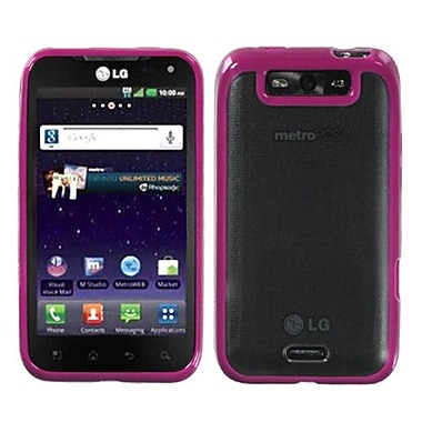 Insten® Gummy Cover For LG MS840 Connect 4G/LS840 Viper, Transparent Clear/Solid Hot-Pink