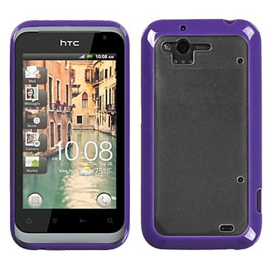 Insten® Gummy Cover For HTC ADR6330 Rhyme, Transparent Clear/Solid Purple
